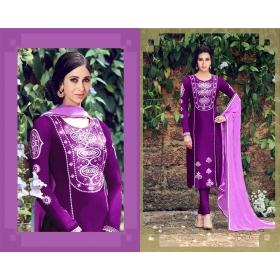 Odin Paris Fashion Purple Neck Embroidered Designer Straight Suit