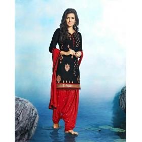 Odin Paris New Exclusive Designer Black & Red Patiala Cotton Salwar Suit