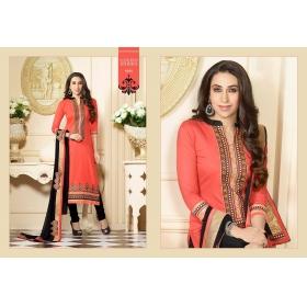 �odin Paris Orange And Black Cotton Dress Materiyal Salwar Suit
