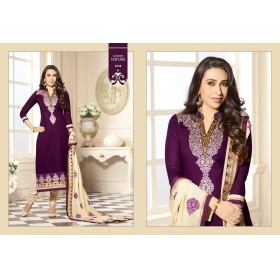 Odin Paris Purple And Beige Cotton Dress Materiyal Salwar Suit