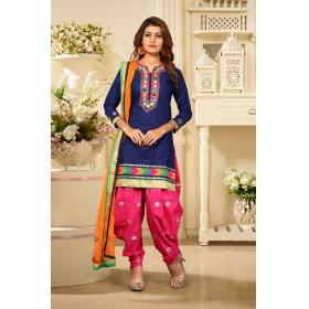 Odin Paris Designer Collection Blue Embroidered & Mirror Cotton Salwar Suit With Dupatta