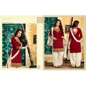 Odin Paris Present Bollywood Party Wear Red & White Salwar Suit