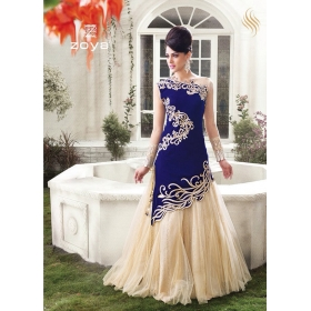 Odin Paris Blue Velvet Women\'s Salwar Suit Dress Materials And Lehenga Cholis With Dupatta All In 1 Free Shipping