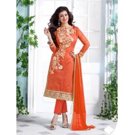 Odin Paris Hoponbit New Orange   Color Chanderi Cotton Salwar Suit
