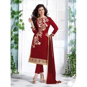 Odin Paris Hoponbit New Red  Color Chanderi Cotton Salwar Suit
