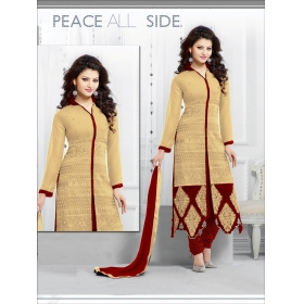 Indian Beautiful Cream & Red Color Salwar Suit With Amazing Embroidery