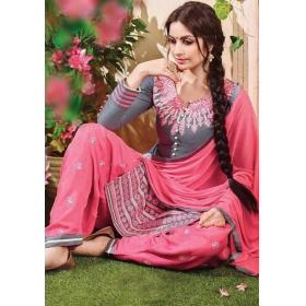 Odin Paris New Designer Embroidered Grey Patiyala Style Salwar Kameez