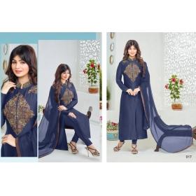 Odin Paris Blue Straight Suits Causal Cotton Designer Suits Salwar Kameez Materials Churidar Suits