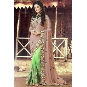 Special Pushpanjali Saree Green And Beige Embroidered Saree