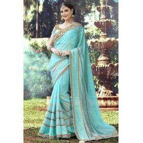 Special Pushpanjali Saree Turquoise Blue Embroidered Border Saree