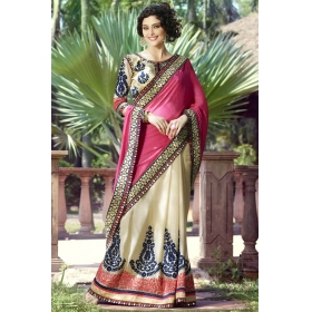Special Pushpanjali Saree Beige And Pink Embroidered Saree