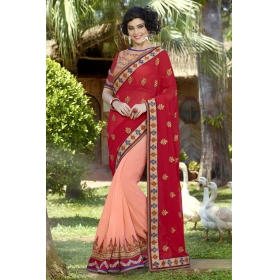 Special Pushpanjali Saree Peach And Red Embroidered Saree