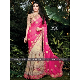 Rani Georgette & Chiffon Embroidery 2 Part Saree With Unstitched Blouse Piece