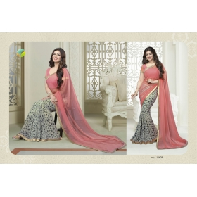 New Multicolor Georgette Printed Lace Work Saree With Heavy Work Blouse Piece