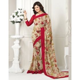 Beige With Red Georgette Printed Lace Work Saree With Blouse Piece