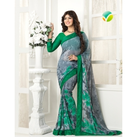 Green Georgette Printed Lace Work Saree With Blouse Piece