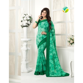 Green With Georgette Printed Lace Work Saree With Blouse Piece