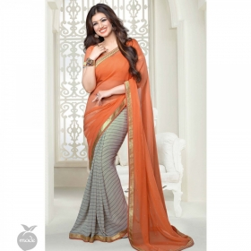 Multicolor Georgette Printed Lace Work Saree With Blouse Piece