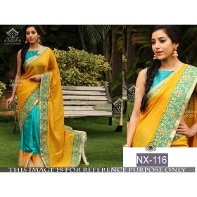 New Indian Embroidered Designer Jacquard Saree