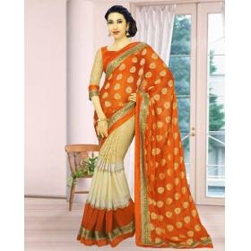 New Orange & Cream Present Exclsuive Designer Fancy Special New Karishma Saree
