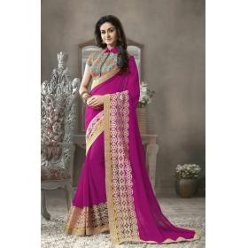 Exclusive New Designer Purple Georgette Decorative Saree