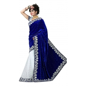 Velvet With Embroidered Blue Saree