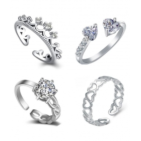 Jewellery Combo Of 4 Graceful Rhodium Plated Finger Ringsndesigned For Girls And Women