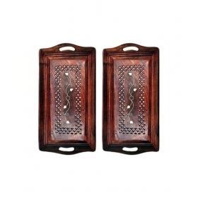 Square Wooden Bar Tray 2 Pcs