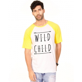 Wild Child Golden Yellow Melange-brilliant White Graphic Half Sleeve T Shirt