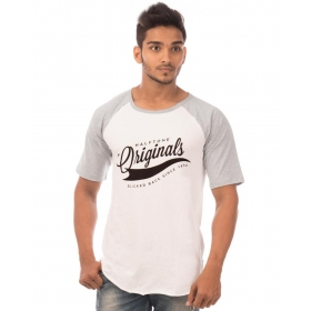 Originals Light Grey Melange-brilliant White Vayu Collection Half Sleeve T Shirt