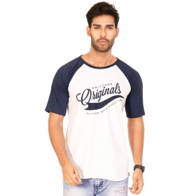 Originals Navy Blue Melange-brilliant White Vayu Collection Half Sleeve T Shirt