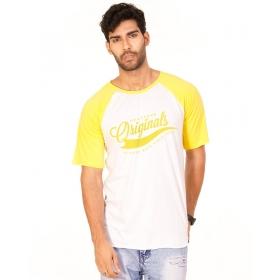 Originals Golden Yellow Melange-brilliant White Vayu Collection Half Sleeve T Shirt