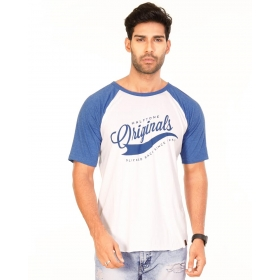 Originals Royal Blue Melange-brilliant White Vayu Collection Half Sleeve T Shirt