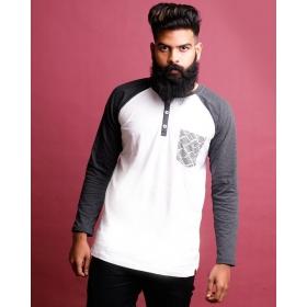 Charcoal Melange-brilliant White Henley Printed Pocket Full Sleeve T Shirt