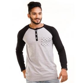 Jet Black-light Grey Melange Henley Printed Pocket Full Sleeve T Shirt