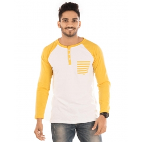 Golden Yellow Melange-brilliant White Henley Printed Pocket Full Sleeve T Shirt