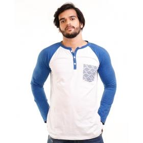 Royal Blue Melange-brilliant White Henley Printed Pocket Full Sleeve T Shirt