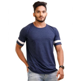 Navy Blue Melange Trendy Basics Half Sleeve T Shirt