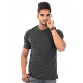 Charcoal Melange Plain T Shirts Half Sleeve T Shirt