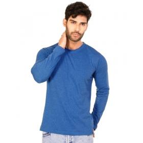 Royal Blue Melange Trendy Basics Full Sleeve T Shirt