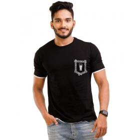 Jet Black Pocket Half Sleeve T Shirt