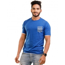 Royal Blue Melange Pocket Half Sleeve T Shirt