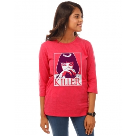 Killer Pink Melange Graphic 3/4th Sleeve T Shirt