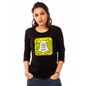 Snapqueen Jet Black Graphic 3/4th Sleeve T Shirt