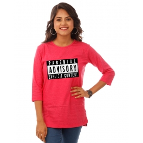 Parental Advisory Pink Melange Graphic 3/4th Sleeve T Shirt
