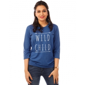Wild Child Royal Blue Melange Graphic 3/4th Sleeve T Shirt