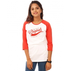 Originals Deep Orange Melange-brilliant White Raglan 3/4th Sleeve T Shirt