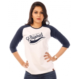 Originals Navy Blue Melange-brilliant White Raglan 3/4th Sleeve T Shirt