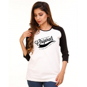 Originals Jet Black-brilliant White Raglan 3/4th Sleeve T Shirt