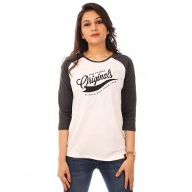 Originals Charcoal Melange-brilliant White Raglan 3/4th Sleeve T Shirt